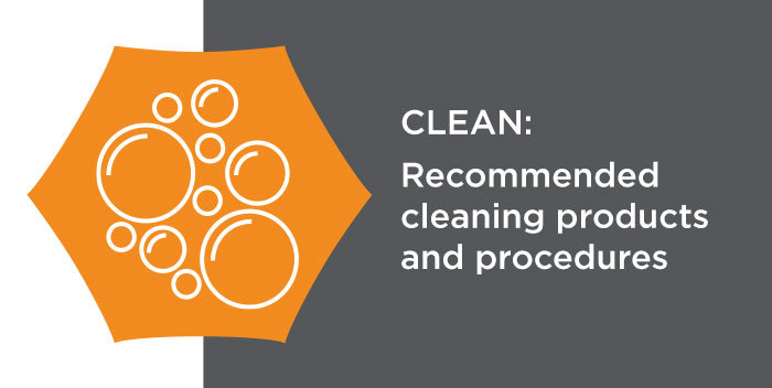 clean: Recommended cleaning products and procedures