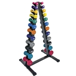 Neoprene/Vinyl Dumbbell Vertical Rack w/ Deluxe Vinyl DB Set 1-15 lbs