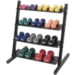 Neoprene/Vinyl Dumbbell 4-Tier Rack w/ Deluxe Vinyl DB Set 1-15 lbs