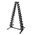 Neoprene/Vinyl Dumbbell Vertical Rack w/Black Neoprene DB Set 1-15 lbs