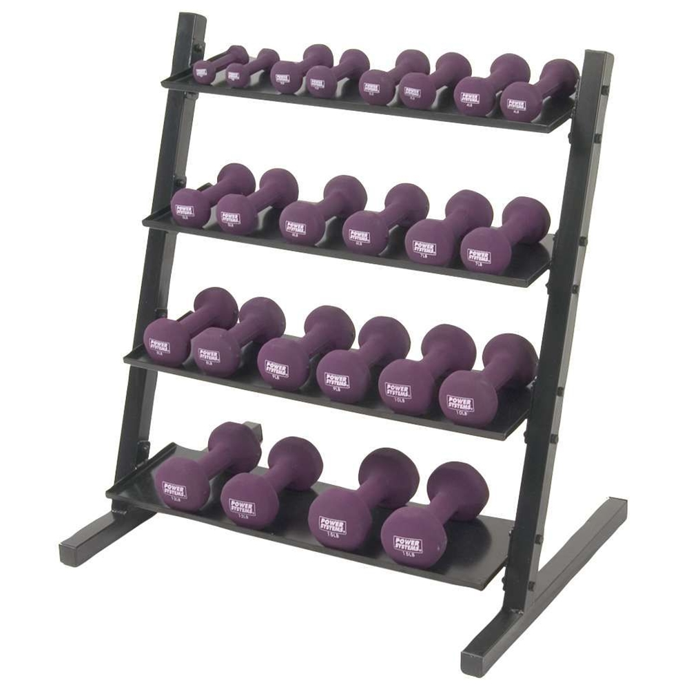Neoprene/Vinyl Dumbbell 4-Tier Rack w/ Neoprene DB Set 1-15 lbs