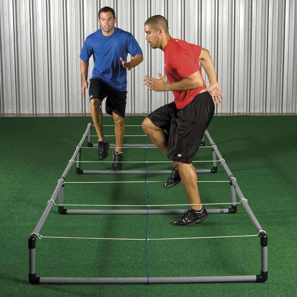 "Improve foot speed, quickness, and knee lift. 2 height adjustments - 6"" and 12"". Collapsible bungee cord will give when hit  or stepped on for added stability. Made of strong 2"" hard PVC tubing. Rust proof. Use indoors or outdoors. Assembly required. 15"
