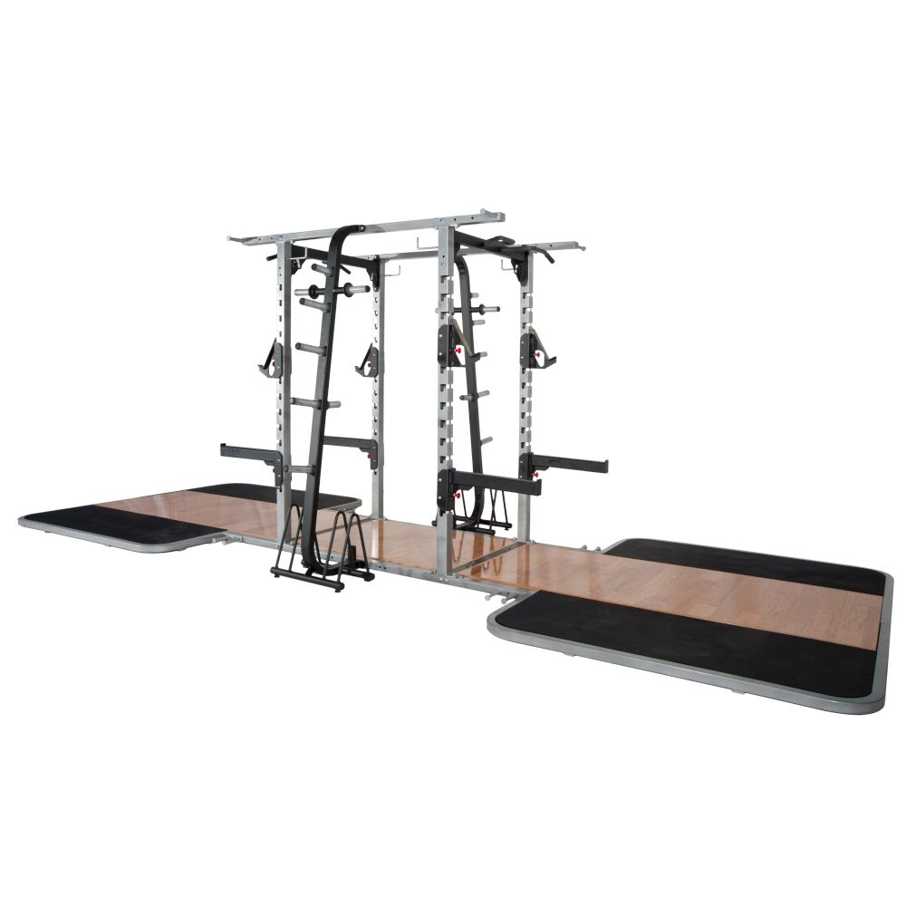 Pro Maxima PL-300 Pro Double Sided Half Rack w/2 Oak Platforms