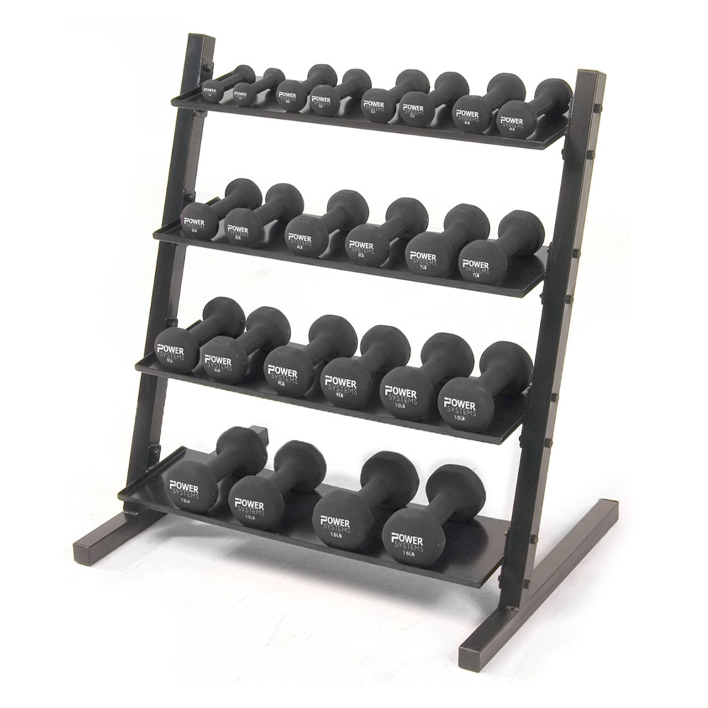 Neoprene/Vinyl Dumbbell 4-Tier Rack w/ Black Neoprene DB Set 1-15 lbs