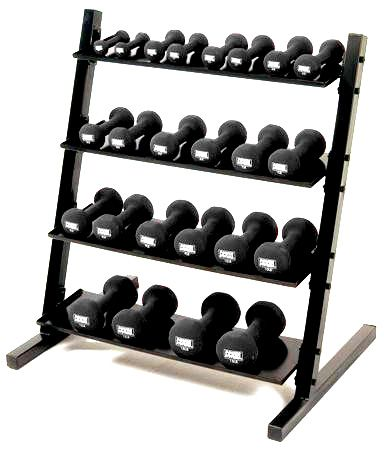 Neoprene/Vinyl Dumbbell 4-tier Rack w/Apple DB set 1-15 lb.