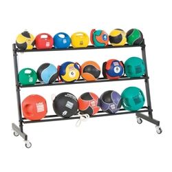 """Store up to 21 medicine balls on a 3-Tier Med Ball Rack. Keeps group fitness floor clear and has casters for mobility.  58"""" L x 20 1/2"""" W x 38"""" H, black"""