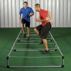 "Improve foot speed, quickness, and knee lift. 2 height adjustments - 6"" and 12"". Collapsible bungee cord will give when hit  or stepped on for added stability. Made of strong 2"" hard PVC tubing. Rust proof. Use indoors or outdoors. Assembly required. 15' L x 5' W with 12 squares 30"" each. 33 lbs."