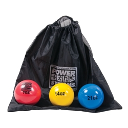 Power Throw-Ball Softball Size Complete Medicine Ball Set and Bag