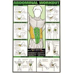 The laminated Abdominal Workout Chart has color illustration of different abdominal exercises and highlights the muscles being worked.