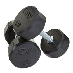 Troy 12 Sided Rubber Dumbbells