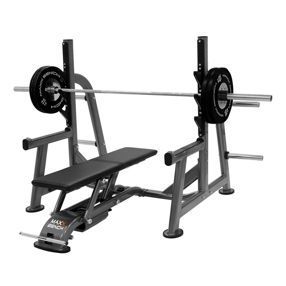 Maxx Bench Olympic Flat Bench-Olympic Flat Bench with Attached Rack and Weight Storage
