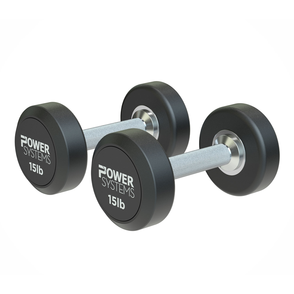 ProStyle Round Rubber Dumbbell-15 lbs Pair